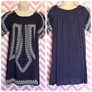 Tops - Dark Blue Embroidered Tunic Dress Size M